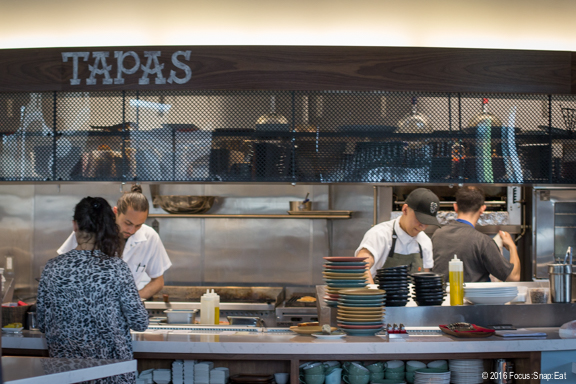 A view of the tapas station or open kitchen