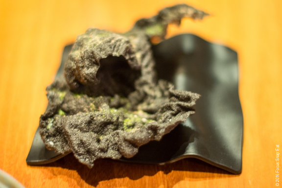 Closer look at the squid ink cracker, adding a bit of texture while eating our tender squid