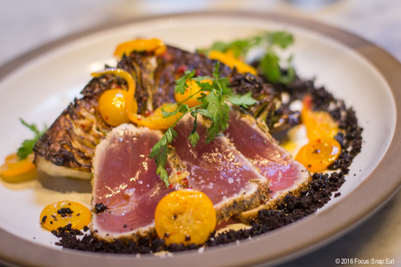 California yellowfin tuna ($15) with charred cabbage and black olive and kumquat.