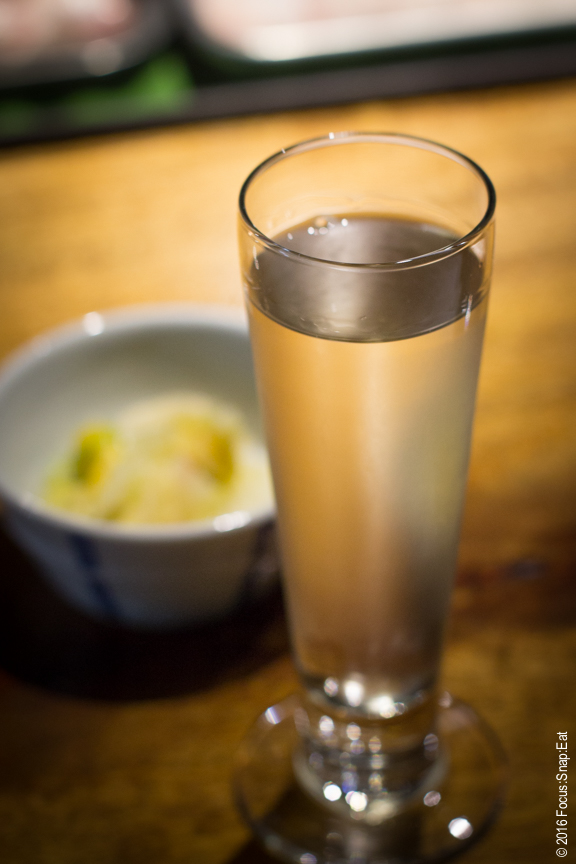 Joto by the glass, a daiginjyo sake that drinks soft with hints of green apple, $12