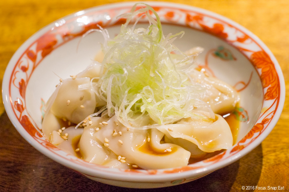 Hiyashi wonton ($7) was a delightfully light dumpling dish served cold with ponzu sauce.