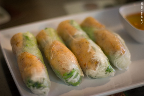 Chao Tom or shrimp on sugar cane stick served as imperial rolls with vermicelli and lettuce ($8.95)