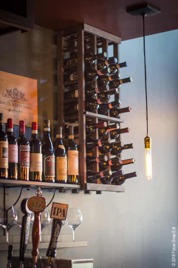 Stacked wine at the bar