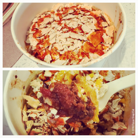 Messy chili bowl with crackers sprinkled on top and (bottom) view of the chili underneath