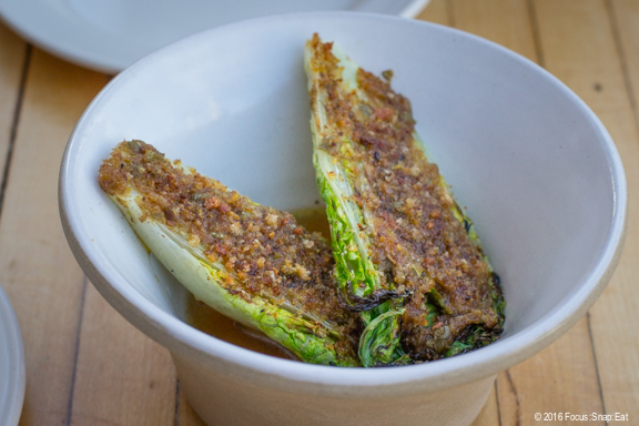 Grilled little gems with anchovies.