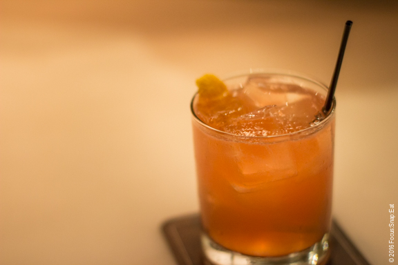 """""""Trophy for Showing Up"""" is a cocktail made with Henrick's gin with campari, lemon, ginger and cava, $11"""