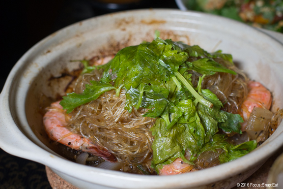 Kung Op Wun Sen ($16.50) is a clay pot with wild caught gulf prawns with pork belly bits, served with bean thread noodles (or clear noodles). This is a Chinese influenced dish, and I loved the shrimp but hardly tasted the pork belly.