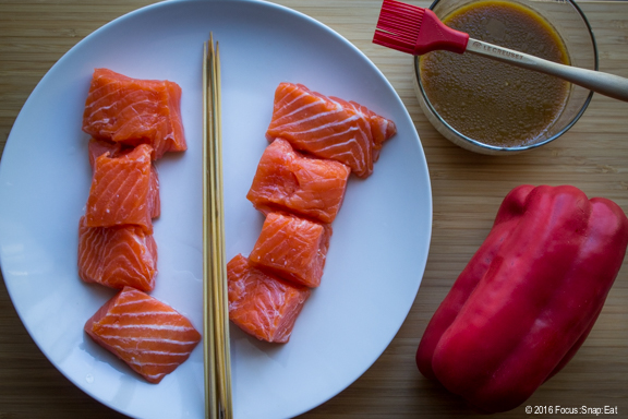 This recipe isn't very complicated, with just the salmon, red bell pepper and miso glaze.