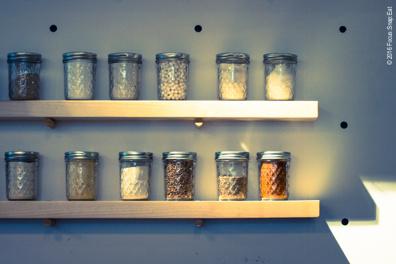 A couple of shelves of spices