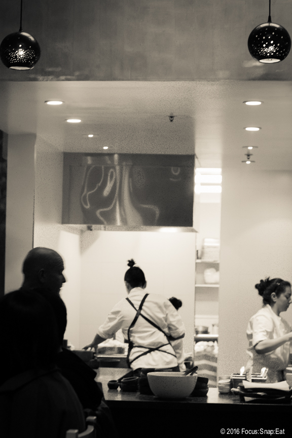 View of the open kitchen at Cala
