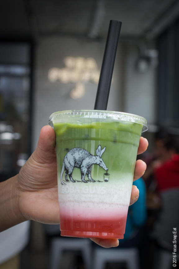 Arlene ordered one of Boba Guys' most Instagram-able drinks, the strawberry matcha bubble tea.