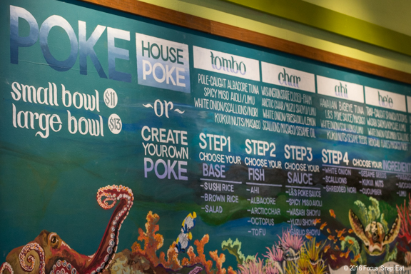 The colorful menu board at Limu and Shoyu, where you can create your own poke bowl.