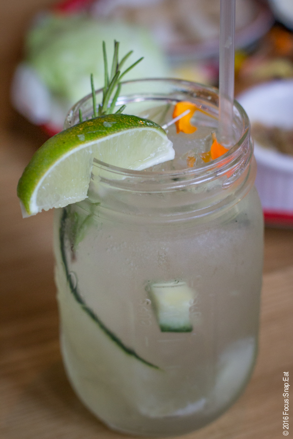 Thai Collins ($10) with Sapphire, lime, cucumber and palm sugar