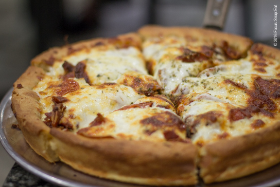 Meaty Delight deep dish pizza at Art of Pizza via Focus:Snap:Eat blog