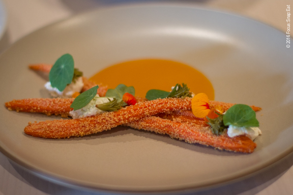 Carrot, sour curd, and pickled pine ($18)