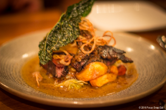Short rib ($30) with braised kale, napa cabbage, sweet potatoes, fried shallot, and whole grain mustard sauce.