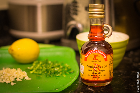 Calabrian chile oil is another key ingredient to this recipe.
