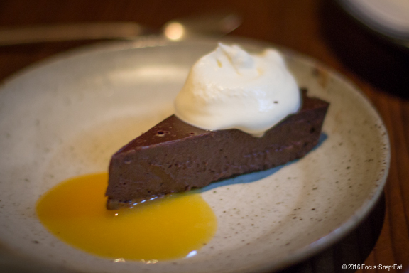 Choco keiki ($10) is a chocolate mousse cake with miso.