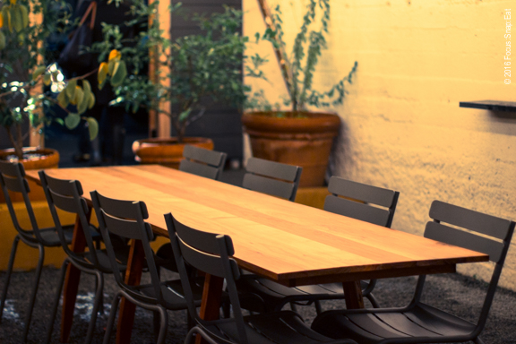 A large table at the patio area